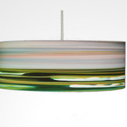 "Rowan Chase - Left Peak, 24"" X 9"", with Diffuser - Something completely different for your home? How about the colorful artwork drum pendants by Californian artist Rowan Chase. These unique lamps are constructed on white powder coated lampshade rings with Rowan Chase artwork. 100% Cotton Velvet Watercolor paper, a white 10 foot cord with porcelain fixture and white ceiling canopy. Lamps come assembled and ready for installation. They are handmade in California one shade at a time by Rowan Chase himself in his studio. Available in four sizes from 8"" to an astonishing 24"" centerpiece which completely changes your dining, bed or living room! All shades are 9"" tall."