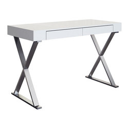White Line Imports - Elm Large High Gloss White Desk - The space-saving design and stylish design of the Elm Desk will make your living space more functional without loss of space or comfort. The desk has stainless steel base and high gloss white top.