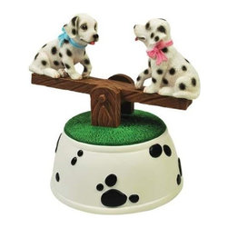 WL - Dalmatian Puppies Musical See-Saw Figurine with Black Spots Design - This gorgeous Dalmatian Puppies Musical See-Saw Figurine with Black Spots Design has the finest details and highest quality you will find anywhere! Dalmatian Puppies Musical See-Saw Figurine with Black Spots Design is truly remarkable.