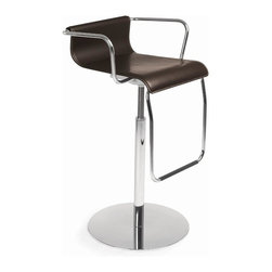 Calligaris - Vertigo Leather Thick Leather Bar Stool (Coff - Finish: Coffee Leather & Chromed FrameLow-back stool features a lift that allows you to adjust your height either up or down to conform to your bar or counter height.  Contemporary design just got even more fabulous with this leather lift barstool.  The sleek lines of the height-adjustable satin or chrome steel frame are enhanced by the comfortable leather seat, available in your choice of coffee, red or black.  This bar stool also comes with adjustable height action and is extremely comfortable.  The sleek lines of the height-adjustable satin or chrome steel frame are enhanced by an exceptionally comfortable leather seat, available in your choice of either rich Coffee, Red or midnight Black. * Pictured in Coffee Leather & Chromed Frame. Fire Retardant. Stool with armrests, suitable for use in wine bars as well as dining rooms. Distinctive metal drop-down footrest hooked onto the thick-leather covered seat which curves up at the back and down at the front for extra comfort. Metal pedestal base with round metal base plate allows you to swivel the seat and adjust its height. Assembly required. Seat height adjustable: 24.125 - 31.5 in.. 20.125 in. W x 19.75 in. D x 35.875 in. H