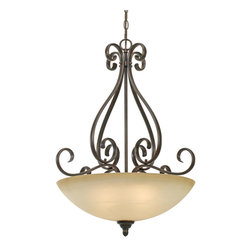 Golden Lighting - Riverton PC Pendant Bowl - Looking to add some romance to your dinner table? Look no further. This charming pendant light combines the strong curves of wrought iron with the delicacy of a cream-colored glass shade.