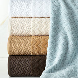 """Kassatex - Kassatex Milan Hand Towel - Egyptian cotton towels of high-low terry velour boast a sculpted chevron design and are finished with a woven border at one end. Select color when ordering. 550 gram. Bath towel, 28"""" x 54"""". Hand towel, 18"""" x 28"""". Face cloth, 13""""Sq. Machine wash. ...."""