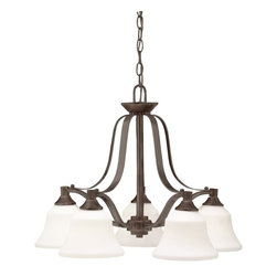 Kichler Lighting - Kichler Lighting Langford Transitional Chandelier X-ZO2871 - This classic 5 light chandelier from the Langford collection is a timeless accent fitting for any space. The Olde Bronze&trade: finish and Satin Etched Glass combine to create a refined statement.
