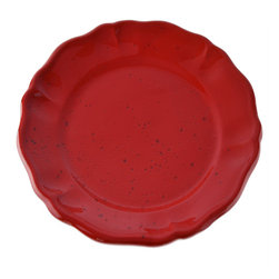 Vita Casalinga - Scalloped Terra-Cotta Dinner Plate - The color red certainly pops! This lusciously scalloped terra-cotta dinner plate is a sultry backdrop for even your most mundane meals. The color, associated often with happiness, will enhance even the most limp of vegetables. Imagine the possibilities with gourmet fare!