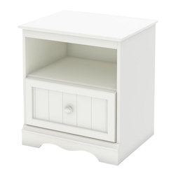 South Shore - South Shore Handover Nightstand in Pure White - South Shore - Kids Night Stands - 3580062 - This sturdy Handover Nightstand in Pure White finish has been made to meet your childs needs for years to come. This look which will never go out of style works well with various types of d��cor so you can change your little ones bedroom to suit his or her tastes without having to think about replacing the furniture. It was designed with both maximum safety and a trendy look in mind to give you a well ordered and highly practical room set up to reflect the taste of the times.  It creates a pleasant comfortable space for your child. Furthermore the Pure White wooden knobs stylish kick plate and framed drawer front with plank effect are really confirming its Cottage Style.