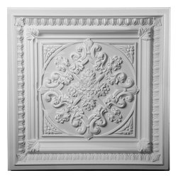 """Ekena Millwork - 24""""W x 24""""H Edwards Ceiling Tile - Ceiling tiles are a unique way to add beauty to your home.  Several of our ceiling tiles are modeled after coffered ceiling designs, which allows you to get that coffered ceiling look without all the miter cuts typically required.  Rich details give deep shadow lines and an ornate look typically only found with wood products."""