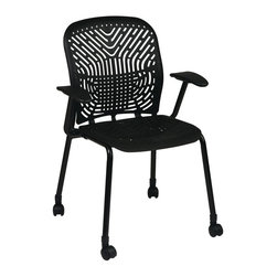 Space - Deluxe SpaceFlex Visitors Chair w Casters - S - Padded arms and a castered base add an extra element of comfort to this tubular steel visitors chair, an appealing choice for any office decor. Highlighted by a flexible seat and back designed to self adjust to every user, the chair is finished in black and is sold in a set of two. Set of 2. Self adjusting SpaceFlex seat and back. Black finish frame with arms and casters. Seat: 18 in. W x 18 in. D. Back: 18 in. W x 19 in. H. 25.25 in. W x 22.5 in. L x 35 in. H (33 lbs.)
