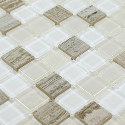 Stone Glass Mosaic Tile - Product Description:Item#: STG0126Collection: Stone Glass MosaicColor: Color Blend(Crystal White and Crystal Green)Surface Finish: Glossy glassShape: SquareChip Size: 1x1In. (23mm x 23mm)Thickness: 3/16 In. (5mm)Each sheet of this tile is approximately 1 sq ft per sheet and is mesh mounted on high quality fiber glass for easy installation of your mosaic tile projects.Application: Stone Glass Mosaic are impervious to the water, thus it is great for both interior and exterior use so moisture is not an issue. Stone Glass Mosaic are great on floors and walls and have been most popular in bathrooms, spas, kitchen backsplash, wall facades and pools as well as a variety of other applications.Characteristics: Stone Glass Mosaic has a zero water absorption rate, and this tile exceeds ANSI standards for water absorption for mosaic tile. It is strong, durable, contamination free, and only the best quality tiles are selected as our tiles are inspected for blemishes before shipment.