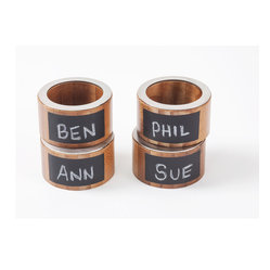 Great Useful Stuff - 4 Bamboo Napkin Rings with Chalkboard Labels - These charming m