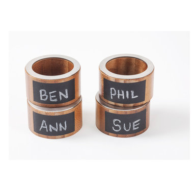 Great Useful Stuff - Bamboo Napkin Rings with Chalkboard Labels, Set of 4 - These charming multitasking napkin rings bring such an element of fun to your dining table. Use them to assign seats (matchmaking, anyone?) in addition to holding your favorite cloth napkins.