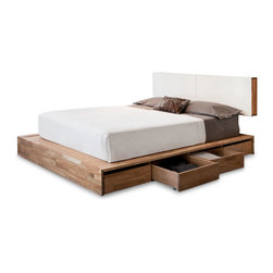 "Mash Studios - LAX Series Storage Platform Bed - LAX Series Storage Platform Bed without Headboard  by MASHstudios    At A Glance:   This queen size storage bed from MASHstudios offers 8 large rolling drawers that provide much-needed storage space for your bedroom. Constructed of solid wood, the LAX Storage Platform Bed is the perfect piece for lofts or apartments where storage is a premium; the 8 rolling drawers could easily take the place of a small dresser, giving you more room and freedom. This solid wood bed works great on its own, but you can always combine it with the Queen Size Headboard for a more complete look and increased storage space. (The two pieces are also sold as a set.)  What's To Like:   We love on-the-floor beds; they add a modern, minimalist touch to any bedroom, and the LAX Platform Bed is one of our favorites for its strict, no-frills minimalism. But minimalist doesn't mean ""heartless,"" does it. Warm wood and rich oil finish bring a very natural, homey feel to"
