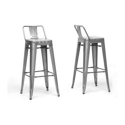 Baxton Studio - Baxton Studio French Industrial Modern Bar Stool in Gunmetal with Back Support - We didn't think a piece of furniture could possess a skill such as talent until we met these spectacular seats. Cafe bar chairs? Industrial bar stools? Minimalist modern bar stools? You decide, because we think this design is skilled enough to be all of the above. This Chinese-built steel bar stool is finished with a powder-coating of mottled metallic gunmetal and features a low backrest. To clean, wipe with a damp cloth. Non-marking black plastic feet help protect sensitive flooring. The stools require minimal assembly and are not stackable once assembled as shown. The French Industrial Collection includes counter stools, bar stools, and dining chairs in a selection of colors including gray, bronze, gunmetal, and white.