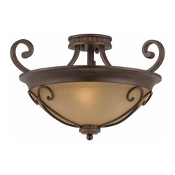 Triarch - Triarch Corsica Corsica 1small Semi Flush X-02-13413 - The Corsica Semi-Flush Mount in English Bronze and Cognac Antiqued Scavo Glass which can be decorated with or without the scroll