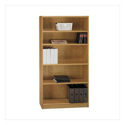 "Bush - Bush Universal 72""H 5 Shelf Wood Bookcase in Snow Maple - Bush - Bookcases - WL1245003 - Bush Furniture Universal 72""H 5 Shelf Wood Bookcase in Snow Maple is a heavy duty storage unit suitable for your home or office setting. It features three adjustable shelves, and one fixed shelf to add to the durability and rigidity of the unit."