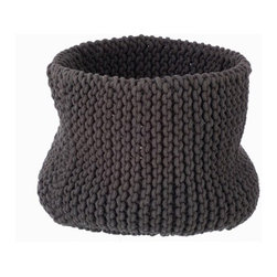 Large Knitted Basket, Charcoal - Here at Houzz, we're loving the needlework trend, and this storage basket is perfectly on trend. Great for corralling your magazines or keeping your recycling looking attractive until trash day.