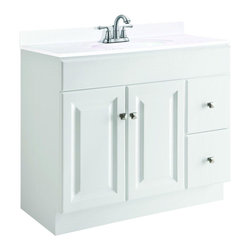 Design House - Design House Bathroom Wyndham 36 in. W x 18 in. D Unassembled Vanity Cabinet - This is the go-to 36 in. vanity for any bathroom that needs a splash of brightness. With a white semi-gloss finish and satin nickel hardware this sleek piece—with a shallower-than-normal 18 in. depth—will give any powder room a crisp clean appearance. Assembly of the unit is quick and straightforward utilizing a frameless full-overlay blueprint to craft a classic cabinet with two right-side drawers and two raised-panel doors giving way to ample storage space within. The medium-density fiberboard used for this vanity is pressure-bonded with a Thermo foil coating giving it a uniform finish and water resistance to withstand years of high-humidity environs. Apply a modern contemporary flair to any bathroom with the Design House Wyndham vanity and consider an accompanying wall or medicine cabinet in white from the same collection (sold separately). Color: White Semi-Gloss.