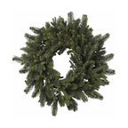 "Nearly Natural - Pine and Pinecone Wreath - Lush, soft needles of varying sizes. A delicate spiral and classic pinecones. For an ""old time holiday"" feel. Construction Material: Polyester material, Iron wire, Pinecone. 30 in. W x NA in. D x 30 in. H ( 6 lbs. )Sometimes, the classics are what you want. And this timeless 30"" Pine & Pinecone Wreath fits that bill perfectly. With lush, soft needles of varying sizes, twisted into a delicate spiral, and adorned with classic pinecones, this wreath is exactly what every ""old time holiday"" decor needs. Also makes a great gift for those who enjoy a classic touch to their holiday decorating."