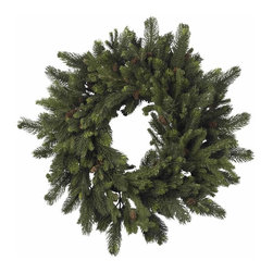 """Nearly Natural - Pine and Pinecone Wreath - Lush, soft needles of varying sizes. A delicate spiral and classic pinecones. For an """"old time holiday"""" feel. Construction Material: Polyester material, Iron wire, Pinecone. 30 in. W x NA in. D x 30 in. H ( 6 lbs. )Sometimes, the classics are what you want. And this timeless 30"""" Pine & Pinecone Wreath fits that bill perfectly. With lush, soft needles of varying sizes, twisted into a delicate spiral, and adorned with classic pinecones, this wreath is exactly what every """"old time holiday"""" decor needs. Also makes a great gift for those who enjoy a classic touch to their holiday decorating."""