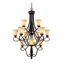 Golden Lighting - Torbellino 3-Tier Chandelier - Add some chandelier light to your life with this elaborate hanging fixture. The fluid swirling motion and glass-accented shades create a modern sculptural style while maintaining a traditional feel.