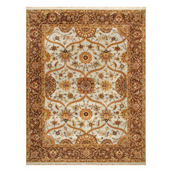 Rugsville - Rugsville Century Antique Lt.Blue Brown Wool 10738-912 Rug - Rugsville Heriz rugs are finished in tribal style with natural colors and sizes. Transform any room in your home with the Elegant and amazingly beautiful Rugaville Heriz Rug Collection. The rugs are finely woven in India of superior, hand-spun Wool. A special wash is the final touch, creating a luxurious patina.
