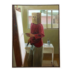"""Art - This painting, entitled """"Self-Portrait,"""" depicts a man with a brown paper bag on his head caught in an attempt to paint himself. Rather than painting on the canvas, this artist seems to have painted everywhere else, including the wall beside the canvas and his shirt. This piece is rather amusing, artful and introspective at the same time. Expertly rendered, this piece leaves much up to the viewer's interpretation. - See more at: http://www.galeriesommerlath.com/inventory/emotive-exceptional-self-portrait/#sthash.5I8LQkBS.dpuf"""