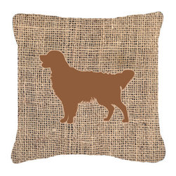 Caroline's Treasures - Golden Retriever Burlap and Brown Fabric Decorative Pillow Bb1085 - Indoor or Outdoor Pillow made of a heavyweight Canvas. Has the feel of Sunbrella Fabric. 14 inch x 14 inch 100% Polyester Fabric pillow Sham with pillow form. This pillow is made from our new canvas type fabric can be used Indoor or outdoor. Fade resistant, stain resistant and Machine washable.