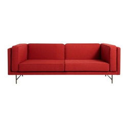 "Blu Dot - Bank 80"" Sofa by Blu Dot - The ideal place to deposit your rear. The Blu Dot Bank 80"" Sofa has a stately presence and a generous seating depth for maximum lounging comfort. The hardwood frame and back have a clean, squared-off form duplicated in the crisply tailored, piped cushions they support. Mix-and-match a variety of fabric and leg finish options. In 1997, Blu Dot was established in Minneapolis by three college friends with a shared passion for art, architecture and design. Then and today, their goal is to bring good design to as many people as possible, collaborating to create modern home furnishings and accessories that are useful, affordable and exceedingly desirable."