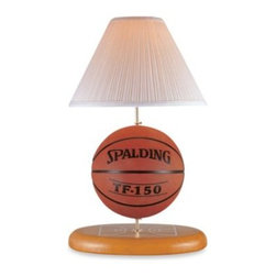 Lite Source - Basketball Themed Table Lamp - The perfect accent table lamp for the sports-lover in your family or great addition to any child's bedroom. Basketball themed ceramic body with fabric shade has one on/off switch.
