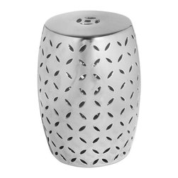 Modern Silver Lattice Garden Stool - This stool was made to shine. It has a mirror finish, but is available in green, white and orange as well.