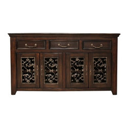 Artisan Home Furniture - Marbella Wood Rustic TV Console - 9 Step lacquer finish. Hand rubbed corners and distressing throughout. Front dovetail solid pine construction drawers with birch veneer fronts. Mortise and tenon joint construction on all case pieces. Full extension glides on all drawers. Metal hardware. Featuring hand-finished faux cast iron detail elaborated in durable resin. One 26 in. wide shelf behind each set of doors. Crafted from selected woods featuring cottonwood and birch veneers. Ships fully assembled. 63.25 in. W x 17 in. D x 35 in. H
