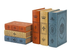 iMax - Potter Book Boxes, Set of 6 - Read the classics: Leather-look covers stamped with the symbols of royalty adorn a set of six, complementary book boxes.