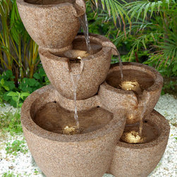 None - Outdoor/ Indoor LED Lit Multi-pots Sandstone Water Fountain - This fountain is made from natural sandstone with a unique finish. Every pot has an LED light; water flows from the top pot to the lower one for a look that will make the perfect addition to your home or garden.