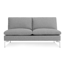 Blu Dot - The New Standard Armless Sofa, Spitzer Grey / White - Sometimes it is not about starting from scratch, but rather revisiting past designs and making them better. The New Standard is simplicity at its best with a twist. Now new and improved. Wide arms and inviting loose cushions all come together with tuned proportions and show stopping legs.  Available in four fabrics, two leathers, two leg finishes and an array of shapes to suit any space.Kiln-dried American hardwood frame, High resiliency foam cushions with feather down wrap, White or Black powder-coated steel legs, Nixon Blue / Red / Sand: 46% Acrylic / 43% Cotton / 11% Polyester, Spitzer Grey: 100% Polyester