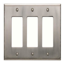 Atlas Homewares - Atlas Sutptr-Brn Sutton Place Triple Rocker Switch Plate Nickel - Atlas Sutptr-Brn Sutton Place Triple Rocker Switch Plate Nickel