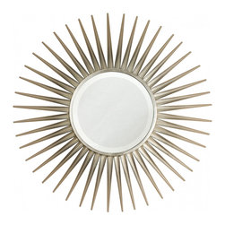 Silver Sun Mirror - An elegant silver leaf version of this in demand mirror, the Silver Sun Mirror is a classically shaped piece that is so versatile in its placement options. It will stun in a master bedroom or in a transitionally styled living area and become a favorite wall adornment for years to come.