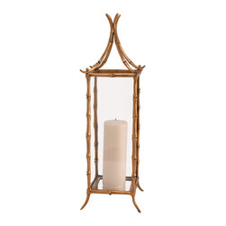 Kathy Kuo Home - Hollywood Regency Faux Bamboo Pagoda Brass Hurricane Candle Holders - Here's a quick and easy way to bring Hollywood Regency and French style into any room - a brass bamboo hurricane lantern.  Paired with the luxe finishes of a Bel Air bedroom, or a controlled splash of toile and  voi-la - instant chic.