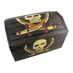 Wooden Skull and Cutlasses Treasure Chest Storage Box - This cool hardwood treasure chest shaped storage box is a perfect accent to any nautical or pirate themed room. The box is hand-stained, and hand carved with a skull and crossed cutlasses design on the top and front. Measuring 12 1/2 inches tall, 13 3/4 inches deep and 19 3/4 inches wide, it's perfect for storing magazines, newspapers or anything else you want to keep in it. NOTE: Since it is hand-carved, there may be slight design differences from what is shown in the pictures. The box is brand new, never displayed, and is hand-made by artisans in Indonesia. It makes a great gift for pirate fans. We have a limited supply of these, so don't miss out. Get yours now.