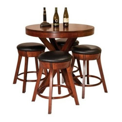 Odyssey 3 pc. Pub Table Set - The perfect choice for your den or eat-in kitchen, the Odyssey Odyssey Pub Table Set adds a blend of upscale appeal and practical function to your home. A blend of contemporary aesthetics and upscale appeal, this set, which includes a pub table and two Cape Cod bar stools, makes even the most casual of meals or an evening with friends a stylish affair.The table's striking base design plays up the set's dramatic look, while excellent Amish woodworking ensures years of function. Breezy New England style and casual, upscale appeal come together in the Cape Cod bar stools, which envelop you in comfort, thanks to the generous black leather seats and footrests. Crafted from responsibly harvested maple hardwood, this simple yet elegant pub set sports a beautiful multi-step cherry finish that works well with most settings. Contemporary elegance combines with superior Amish craftsmanship to make this pub set your ticket to creating countless memories with friends and family. Please note: This item is not intended for commercial use. Warranty applies to residential use only.Additional Features:Pub table dimensions: 38W x 38D x 36H inchesBar stool dimensions (each): 25W x 25D x 24H inchesContemporary design with mission table edge and striking base designMade in AmericaCare and Maintenance:Because most hardwoods are open grained, solid wood furniture can be affected by changes in humidity and temperature, even after protective finishes have been applied. Care in controlling the furniture's environment will help minimize the minor cracking and warping that is a natural part of the wood's character.Indoor humidity should be kept in the 35 to 40 percent range to minimize these effects. If the humidity moves out of the ideal range, solid wood tabletops can expand or contract causing a gap in the center or at the ends where the two halves meet. This is perfectly normal as moisture is absorbed through end grains of wood causing more movement on the ends