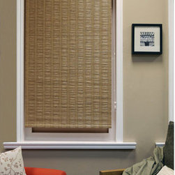 Chicology - Florence Latte 23x64 Roller Shade - - Bottom panel weights to keep in place - Sewn-in  - Drapery Fabric - 41% Paper + 33% Jute +26% Polyester  - Finished Width x Length - 23x64 Chicology - PR061123