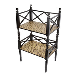 Brandi Renee Designs - Woburn Two Tier Shelf with Textured Surface - This unique two accent table has two shelves that are painted in an animal print.