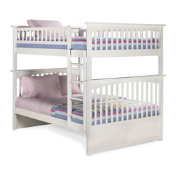 Atlantic Furniture - Columbia Bunk Bed Full Over Full / White - The Mission style of the Columbia Bunk Bed Full over Full / White is just one of the many reasons that this bunk bed will look fantastic in your child's bedroom. It's not only gorgeous it's also very kid-strong because it's made of eco-friendly Rubberwood that's recognized for its attractive look and long-lasting qualities. The vibrant white finish will also never loose its luster because it was put on in 5 finishing steps to guarantee that it lasts.