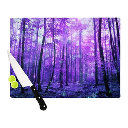 "Kess InHouse - Iris Lehnhardt ""Magic Woods"" Purple Forest Cutting Board (11.5"" x 15.75"") - These sturdy tempered glass cutting boards will make everything you chop look like a Dutch painting. Perfect the art of cooking with your KESS InHouse unique art cutting board. Go for patterns or painted, either way this non-skid, dishwasher safe cutting board is perfect for preparing any artistic dinner or serving. Cut, chop, serve or frame, all of these unique cutting boards are gorgeous."