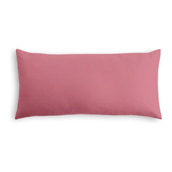 Dark Pink Lightweight Linen Custom Lumbar Pillow - The perfect solo statement on a modern chair or bed, the rectangular lines of the Simple Lumbar Pillow are effortlessly chic.  We love it in this lighweight linen blend with characteristic light slubs in rose pink.