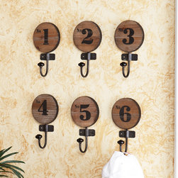 Upton Home - Upton Home Old World Numbered Wooden Hooks (Set of 6) - Bring a touch of vintage charm to your space with these old-fashioned wooden hooks. This set of numbered hooks feature an antiqued design and is made with real fir and iron. Use these hooks for hanging lightweight items in the foyer or elsewhere.