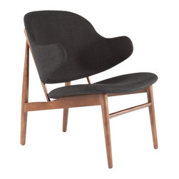 Stilnovo Cosgrove Lounge Chair, Black - Solid walnut hardwood goes into the crafting of spindles and frame for the Cosgrove lounge chair. The separate seat and backrest are nicely padded and upholstered in comfortable and durable polyester fabric. The backrest is curved to slightly surround you and provide some arm support.