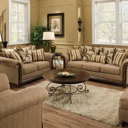 Simmons Upholstery - Tiki Upholstery 3 Piece Living Room Set - 8007-QSLC - Set includes Queen Sleeper Sofa, Loveseat and Chair 1/4