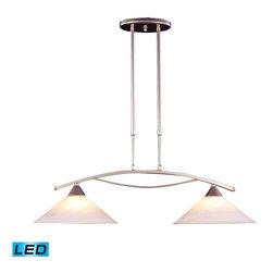 Elk Lighting - Elk Lighting 6501/2-LED Elysburg Modern Island Light in Satin Nickel - Elk Lighting 6501/2-LED Elysburg Modern Island Light in Satin Nickel