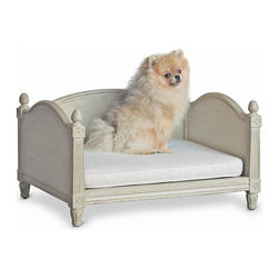 Eloquence - Theodore French Country Louis XV Style Taupe Grey Fog Linen Dog Bed - Treat your precious loyal friend to a petite, posh place to sit and sleep. A light grey removable cushion will comfort your pet in style. The French Country architecture is enhanced by hand-carved pineapple finials, welcoming your constant companion.