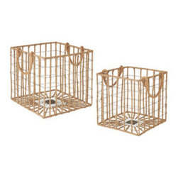 Gone Fishing Crates - Set of 2 - Get up early in the morning, grab your fishing pole and head down to the water. Catch a few trout, plop them in this iron crate, and enjoy a fish fry in the evening.