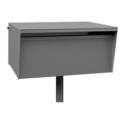 BoxDesign - Metro Letterbox, Back Opening, Orange, Steel Post - Top of the range with solid powder coated aluminum casing. Ideal for solid walls or free standing on a pole.